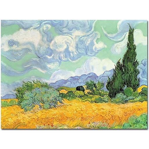 "Trademark Global Vincent Van Gogh ""Wheatfield with Cypresses 1889"" Canvas Art, 24"" x 32"""