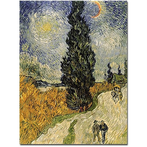"Trademark Global Vincent Van Gogh ""Road with Cypresses 1890"" Canvas Art, 18"" x 24"""