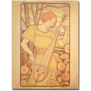 "Trademark Global Paul Brethon ""Young Woman with Lute, 1872"" Canvas Art, 24"" x 18"""