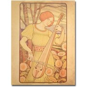"Trademark Global Paul Brethon ""Young Woman with Lute, 1872"" Canvas Art, 32"" x 26"""