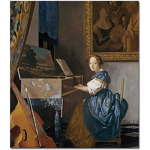 "Trademark Global Jan Vermeer ""A Young Lady Seated at a Virginal"" Canvas Art, 32"" x 26"""