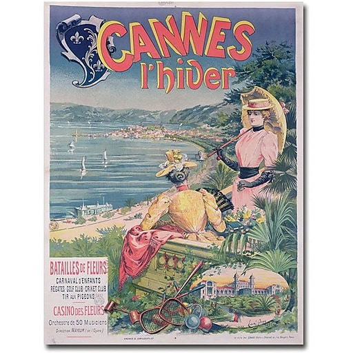 "Trademark Global Emmanuel Brun ""Casine des Fleurs, Cannes 1892"" Canvas Art, 47"" x 35"""
