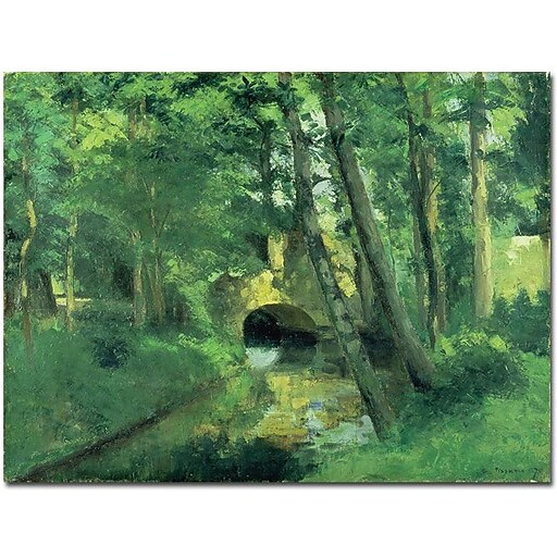 "Trademark Global Camille Pissarro ""The Little Bridge Pontoise 1875"" Canvas Art, 35"" x 47"""