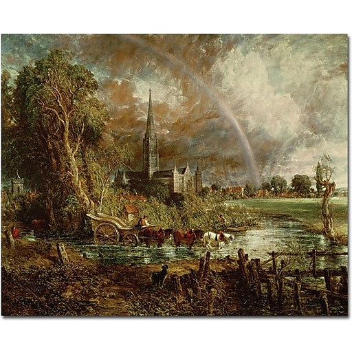 """Trademark Global John Constable """"Sailsbury Cathedral from the Meadows, 1831"""" Canvas Art, 26"""" x 32"""""""