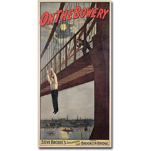 """Trademark Global Steve Brodie """"Steve Brodie's Leap from the Brooklyn Bridge"""" Canvas Art, 47"""" x 24"""""""