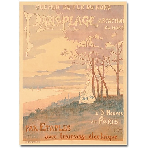 "Trademark Global ""Trains to Paris-Plage, 1899"" Canvas Art, 47"" x 35"""