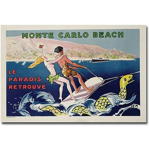 "Trademark Global Georges Goursat ""Monte Carlo Beach 1932"" Canvas Art, 30"" x 47"""