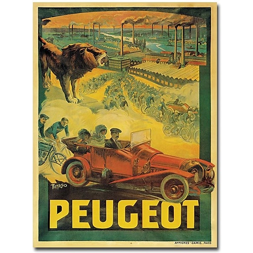 "Trademark Global Francisco Tamagno ""Peugeot Cars, 1908"" Canvas Art, 32"" x 24"""