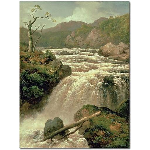 "Trademark Global James Smith ""Waterfal on River Neath, Wales Cnavas"" Canvas Art, 47"" x 35"""