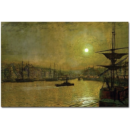 "Trademark Global John Atkinson Grimshaw ""Whitby"" Canvas Art, Impressionist, 16"" x 24"" (BL0094-C1624GG)"