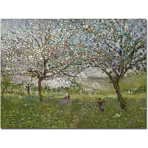 "Trademark Global Ernest Quost ""Apple Trees in Flower"" Canvas Art, 14"" x 19"""