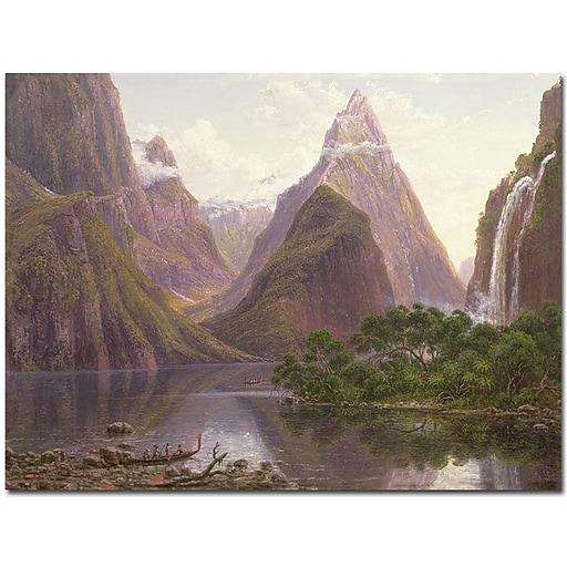 """Trademark Global Eugen von Guerard """"Milford Sound, New Zeland"""" Canvas Art, 18"""" x 24"""""""