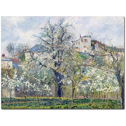"Trademark Global Camille Pissarro ""The Garden at Pontoise 1877"" Canvas Art, 35"" x 47"""