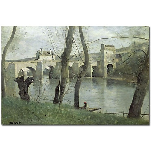 "Trademark Global Jean Baptiste Corot ""The Bridge Mantes"" Canvas Art, 35"" x 47"""