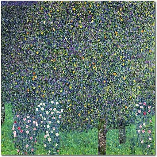 """Trademark Global Gustav Klimt """"Roses Under the Trees, 1905"""" Canvas Art, 35"""" x 35"""""""