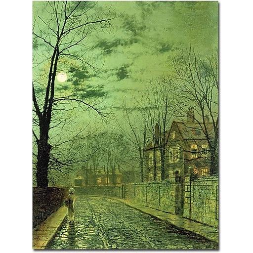 "Trademark Global John Atkinson Grimshaw ""A Moonlit Road"" Canvas Art, 32"" x 24"""