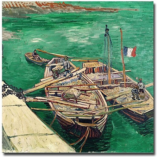 "Trademark Global Vincent Van Gogh ""Landing Stage with Boats 1888"" Canvas Art, 35"" x 35"""