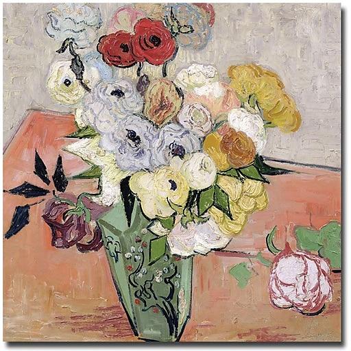 "Trademark Global Vincent Van Gogh ""Roses and Anemones, 1890"" Canvas Art, 24"" x 24"""