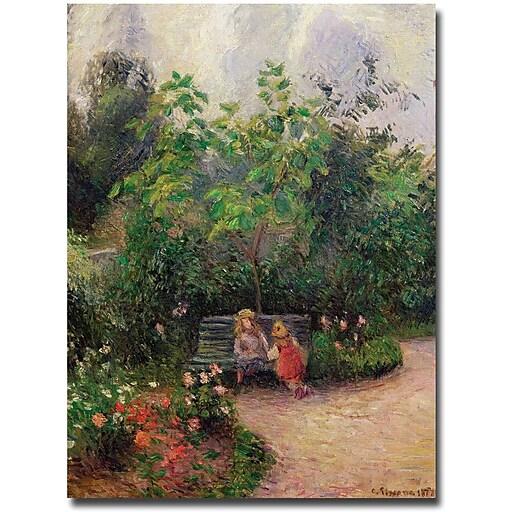 "Trademark Global Camille Pissarro ""Gardern at the Hermitage, Pontoise, 1877"" Canvas Art, 24"" x 18"""