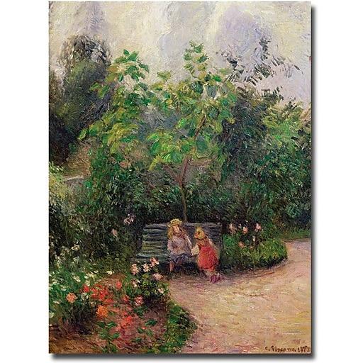 "Trademark Global Camille Pissarro ""Gardern at the Hermitage, Pontoise, 1877"" Canvas Art, 47"" x 35"""