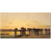 "Trademark Global Charles Emile de Tournemine ""African Elephants"" Canvas Art, 24"" x 47"""