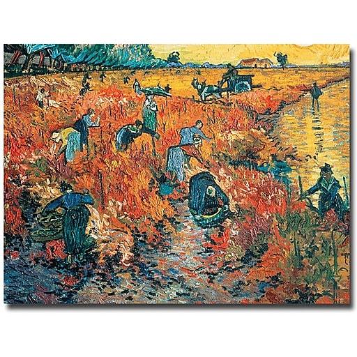 "Trademark Global Vincent Van Gogh ""Red Vineyards at Arles 1888"" Canvas Art, 18"" x 24"""