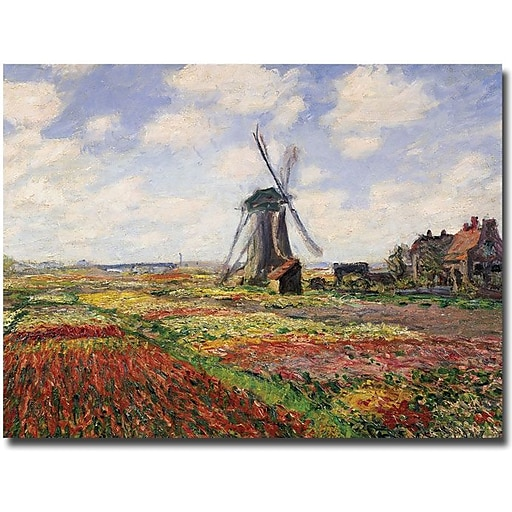 "Trademark Global Claude Monet ""Tulip Fields with Rijnsburg Windmill, 1886"" Canvas Art, 18"" x 24"""