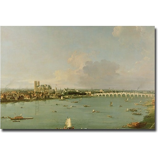 "Trademark Global Canaletto ""View of the Thames from the South"" Canvas Art, 16"" x 24"""