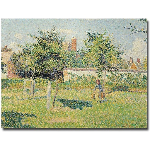 """Trademark Global Camille Pissarro """"Woman in the Meadow at Eragny, 1887"""" Canvas Art, 18"""" x 24"""""""