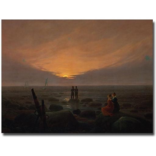 "Trademark Global Caspar David Friedrich ""Moon RIsing over the Sea, 1821"" Canvas Art, 35"" x 47"""