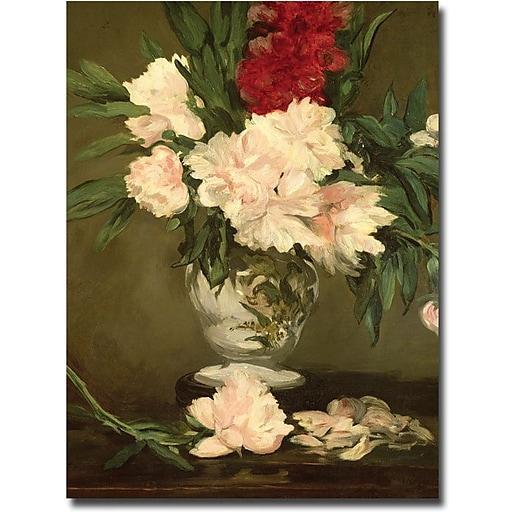 "Trademark Global Edouard Manet ""Vase of Peonies 1864"" Canvas Art, 24"" x 18"""
