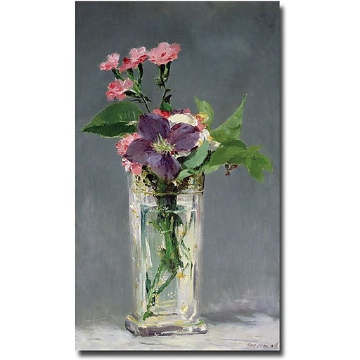 """Trademark Global Edouard Manet """"Pinks and Clemantis in a Vase, 1882"""" Canvas Art, 47"""" x 30"""""""