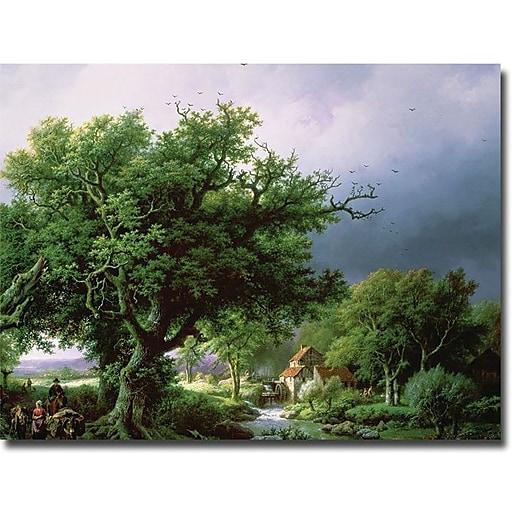 "Trademark Global Bernard Cornelis Koekkoek ""Landscape with Mill"" Canvas Art, 35"" x 47"""