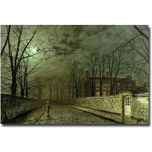 "Trademark Global John Atkinson Grimshaw ""Silver Moonlight, 1880"" Canvas Art, 16"" x 24"""