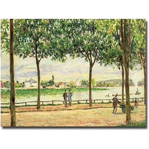 """Trademark Global Alfred Sisley """"Spanish Chesnut Trees by the River"""" Canvas Art, 35"""" x 47"""""""