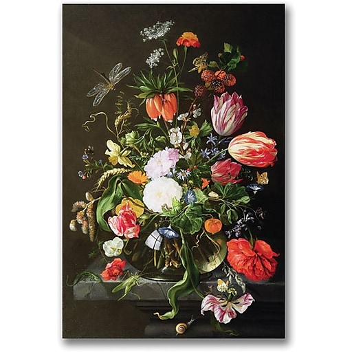 "Trademark Global Jan Davidsz de Heem ""Still Life of Flowers"" Canvas Art, 24"" x 16"""