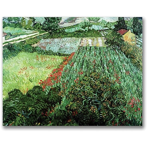 "Trademark Global Vincent Van Gogh ""Field with Poppies"" Canvas Art, 35"" x 47"""