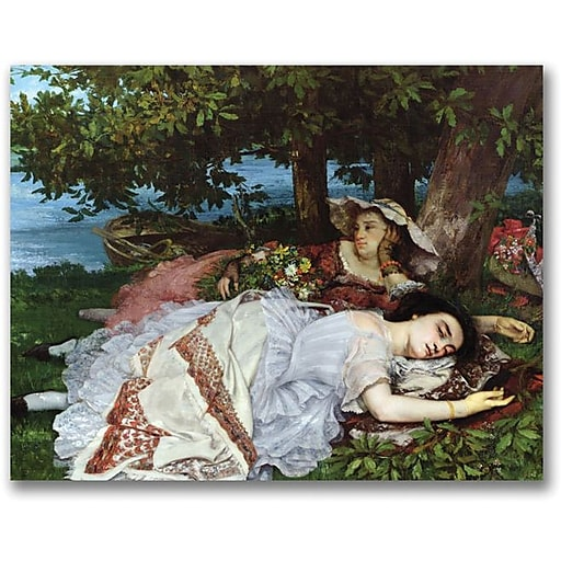 "Trademark Global Gustave Courbet ""Girls on the Banks of the Seine"" Canvas Art, 35"" x 47"""