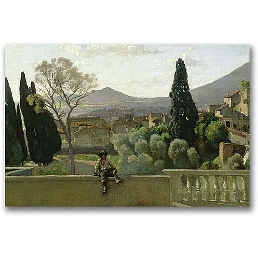 "Trademark Global Jean Baptiste Corot ""The Gardens of the Villa"" Canvas Art, 18"" x 24"""