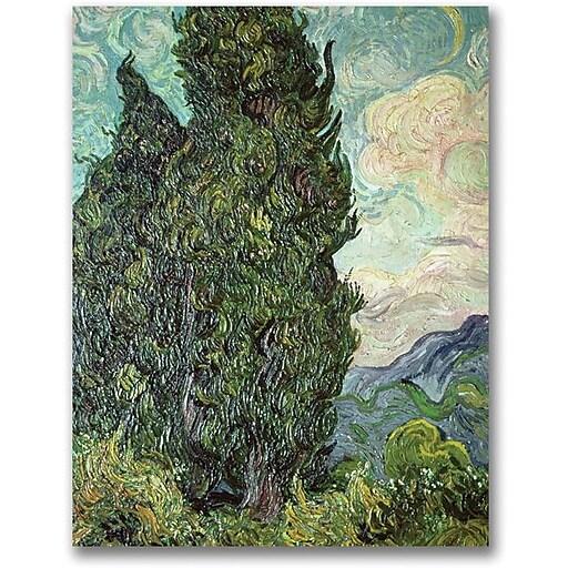 """Trademark Global Vincent Van Gogh """"Cypresses, 1889"""" Canvas Art, 32"""" x 24"""""""
