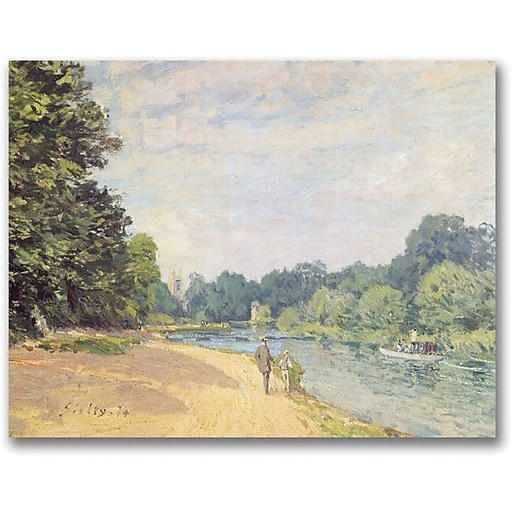 "Trademark Global Alfred Sisley ""The Thames with Hampton Church"" Canvas Art, 35"" x 47"""