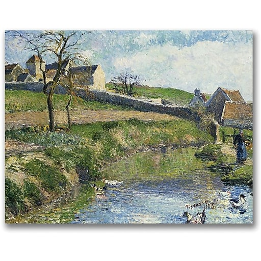 "Trademark Global Camille Pissarro ""The Farm at Osny"" Canvas Art, 18"" x 24"""