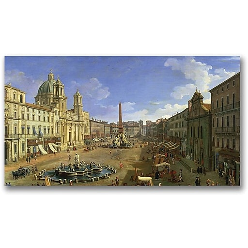 """Trademark Global Canatello """"View of the Piazza Navona Rome"""" Canvas Art, 30"""" x 47"""""""
