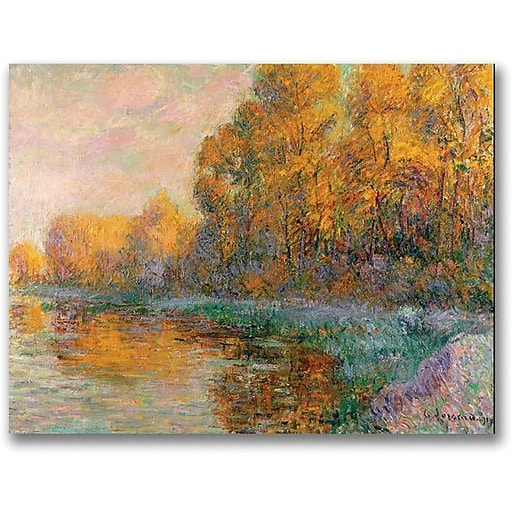 "Trademark Global Gustave Loiseau ""A River in Autumn"" Canvas Art, 18"" x 24"""