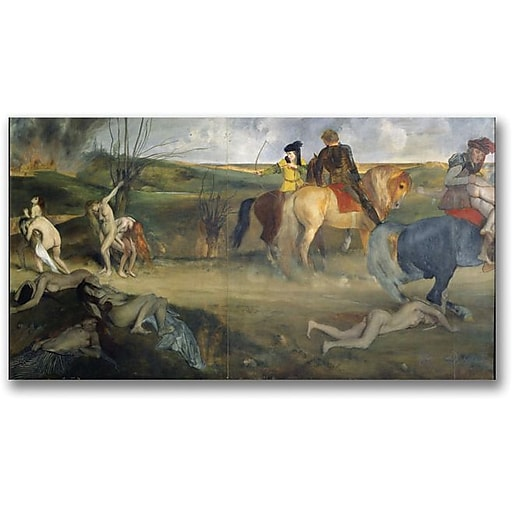"Trademark Global Edgar Degas ""Scene of War in the Middle Ages"" Canvas Art, 24"" x 47"""