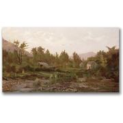 "Trademark Global Thomas Whittredge ""Landscape with Trees and Houses"" Canvas Art, 30"" x 47"""