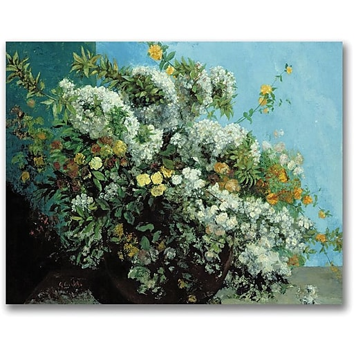 """Trademark Global Gustave Courbet """"Flowering Branches and Flowers"""" Canvas Art, 24"""" x 32"""""""