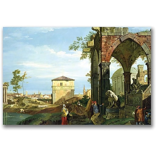 """Trademark Global Canaletto """"Capriccio with Motifs from Padua"""" Canvas Art, 16"""" x 24"""""""