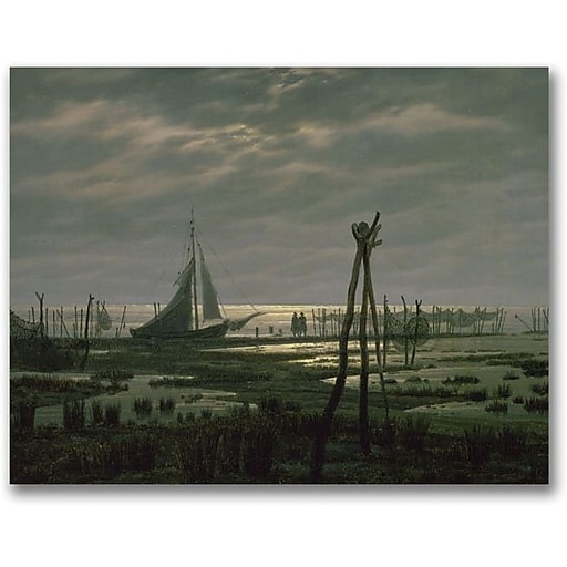 "Trademark Global Caspar David Friedrich ""Marshy Beach"" Canvas Art, 18"" x 24"""