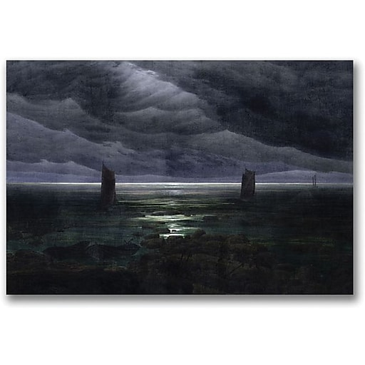 "Trademark Global Caspar David Friedrich ""Sea Shore in Moonlight"" Canvas Art, 18"" x 24"""